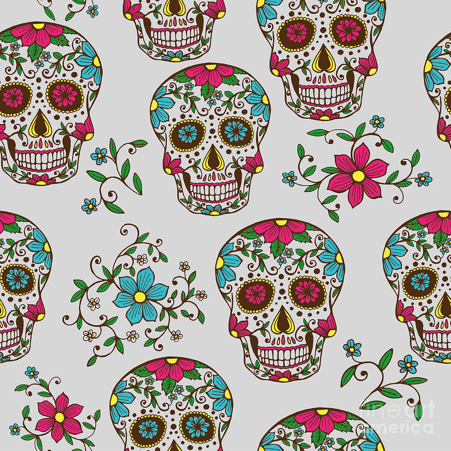 De Digital Art - Hand Drawn Day Of The Dead Colorful by A bachelorette