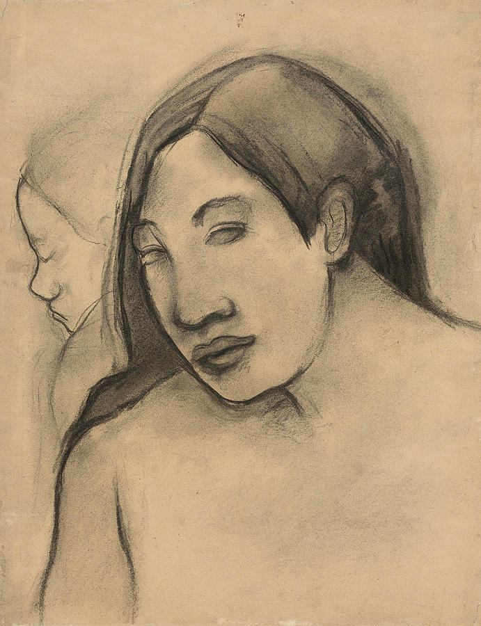 Heads of Tahitian Women, Frontal and Profile Views by Paul Gauguin