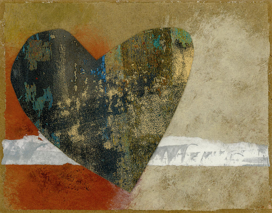 Heart Mixed Media - Heart Collage 653 by Carol Leigh
