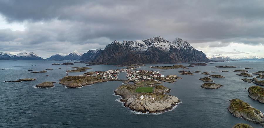 Aerial View Photograph - Henningsvaer Lofoten by Kai Mueller
