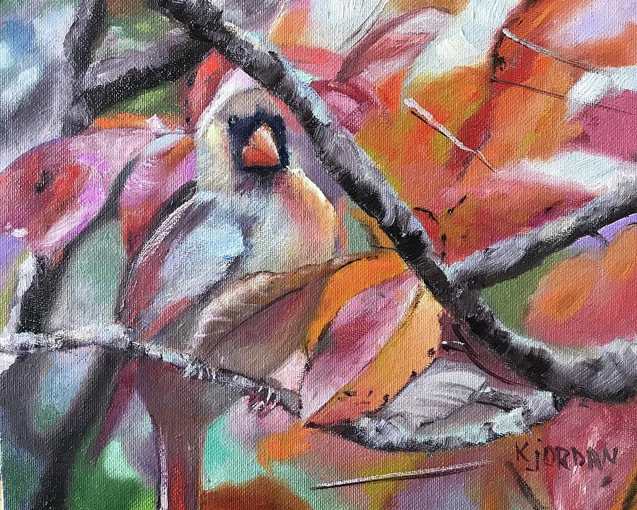 Female Cardinal Painting - Hidden In Plain Sight by Karen Jordan