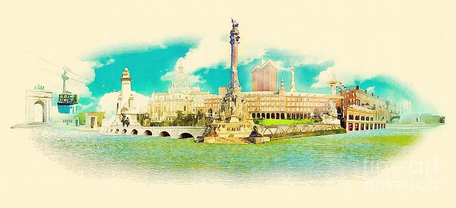 Spain Digital Art - High Resolution Water Color Panoramic by Trentemoller