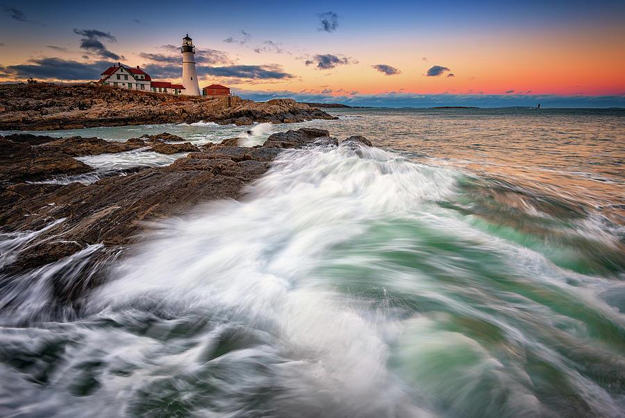 Portland Head Lighthouse Photograph - High Tide At Dusk by Rick Berk