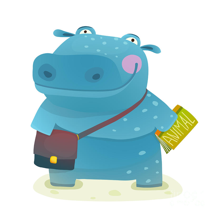 Pink Digital Art - Hippopotamus Kid Student With Book And by Popmarleo