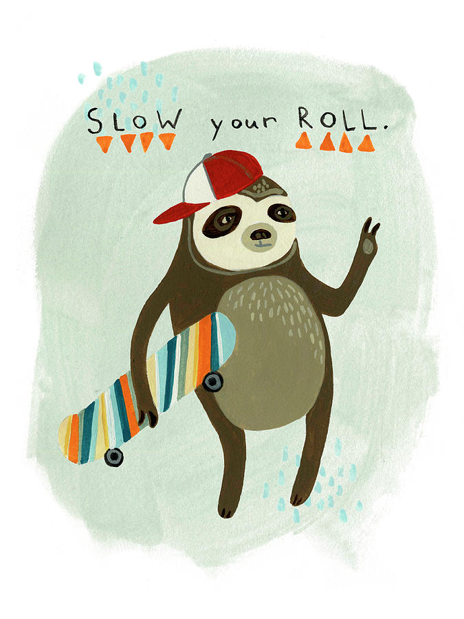 Childrens Painting - Hipster Sloth I by June Erica Vess