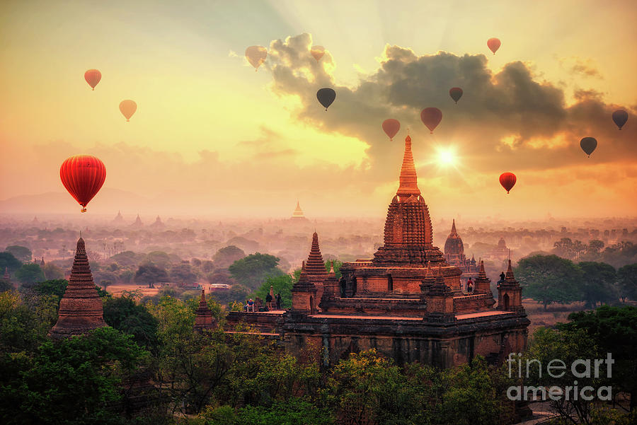 Hot Air Balloon Over Plain Of Bagan Photograph by Thatree Thitivongvaroon