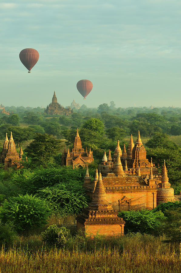 Hot Air Balloons Over Bagan In Myanmar Photograph by Huang Xin