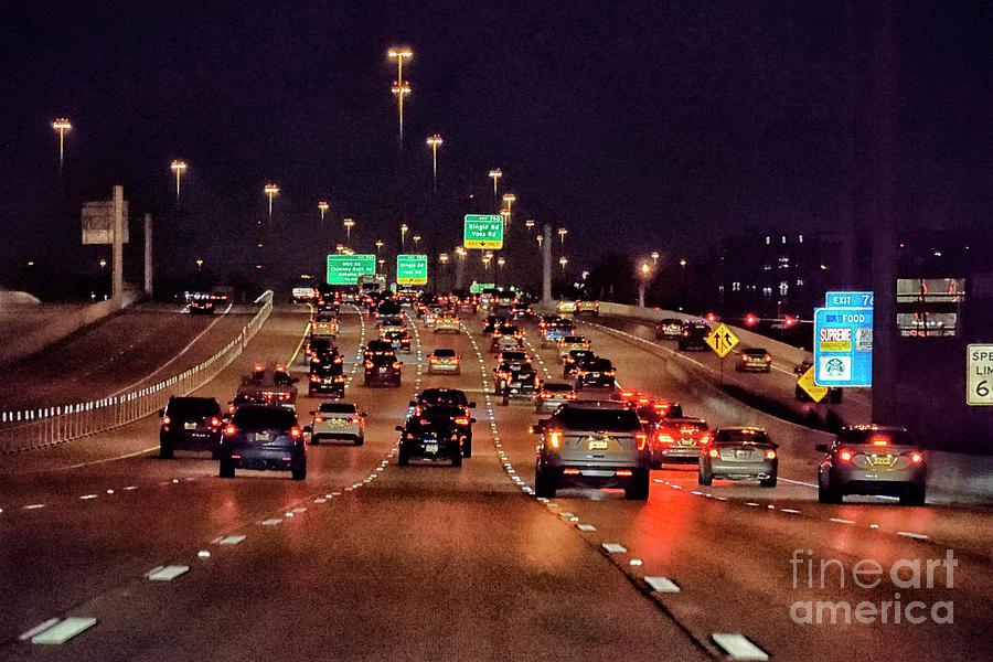 Houston Night Driving Photograph