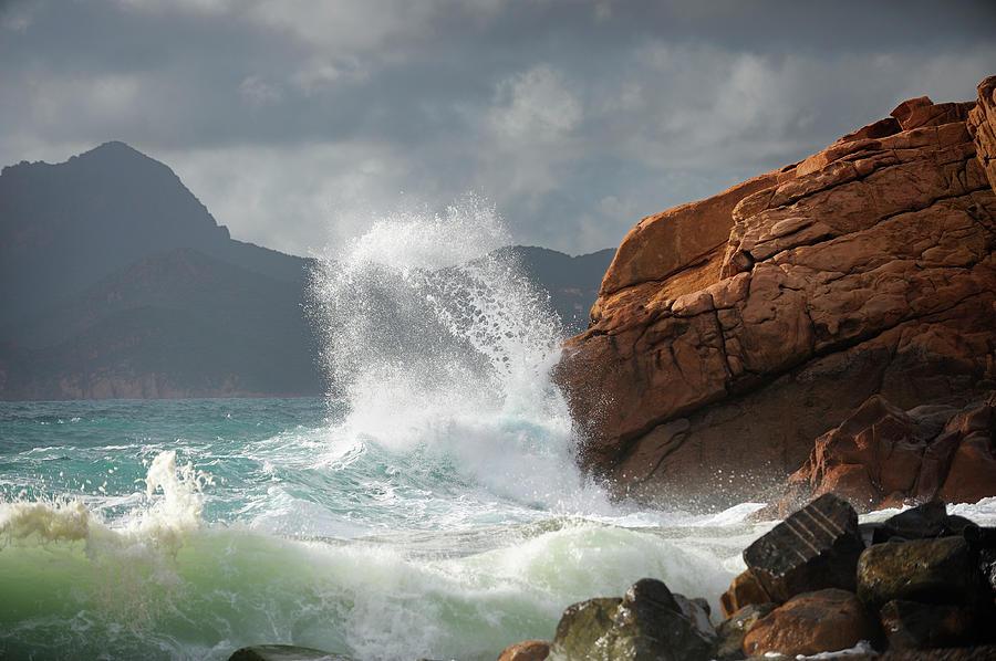 Huge Wave Splash Photograph by Akrp