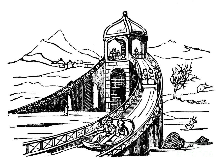 Ice Mountain, Artificial Sledge Run Drawing by Print Collector