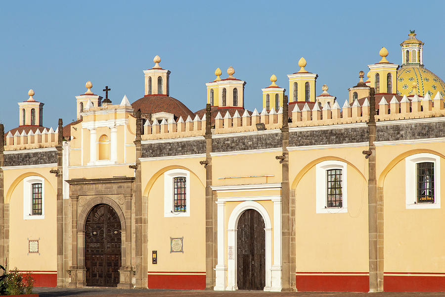 Cholula Photograph - Iconic Mexican Chapel (capilla Real) Under A Blue Sky In Puebla by Cavan Images