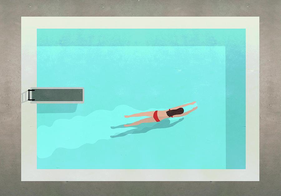 Illustration Of Woman Swimming In Pool Digital Art by Malte Mueller