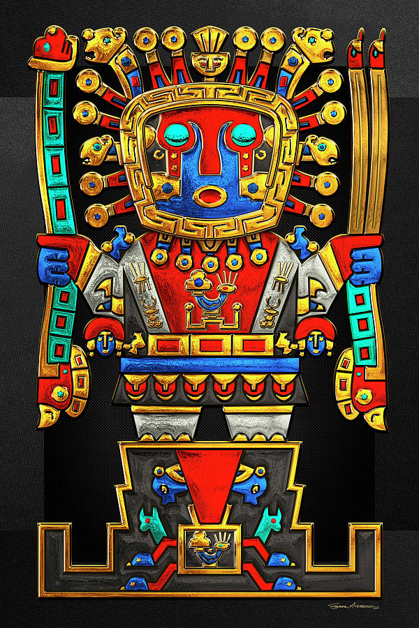 Inca Empire Photograph - Incan Gods - The Great Creator Viracocha On Black Canvas 1 by Serge Averbukh
