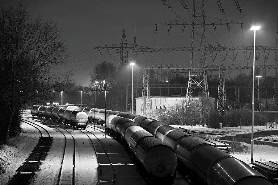 Industry Railroad Yard At Night Photograph by Michaelutech