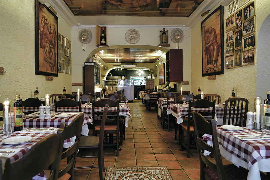 Interior View Of An Italian Restaurant In Stockholm Sweden by Richard Rosenshein
