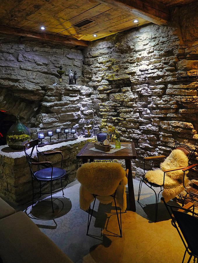 Interior View Of An Underground Cafe In Tallinn Estonia by Richard Rosenshein