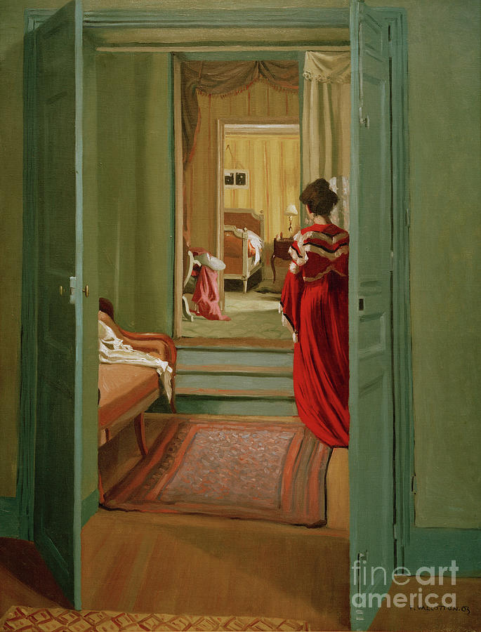 Interior with Woman in Red by Felix Vallotton