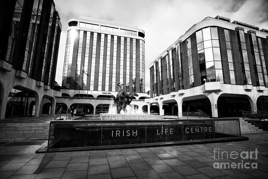 Irish Life Photograph - Irish Life Centre With Chariot Of Life Sculpture And Fountain Dublin Republic Of Ireland Europe by Joe Fox
