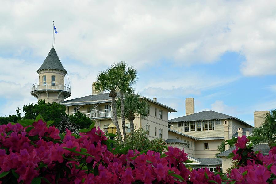 Jekyll Island Club Hotel and Azaleas by Bruce Gourley