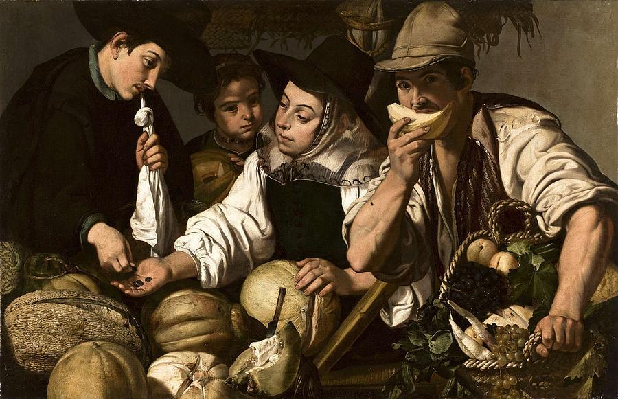 Jeronimo Jacinto De Espinosa - Vendedores De Frutas C.1650 Painting