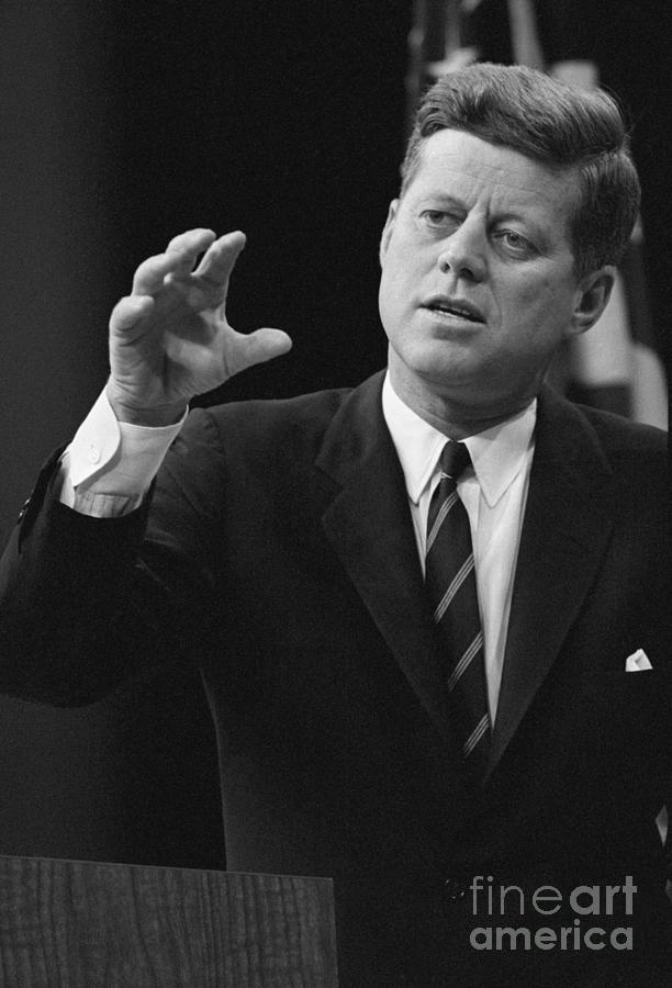 John F. Kennedy Gestures During News Photograph by Bettmann