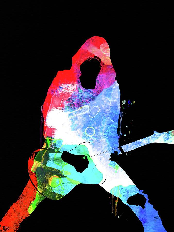 Johnny Ramone Mixed Media - Johnny Watercolor II by Naxart Studio