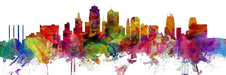 Kansas City Digital Art - Kansas City Missouri Skyline Panoramic by Michael Tompsett