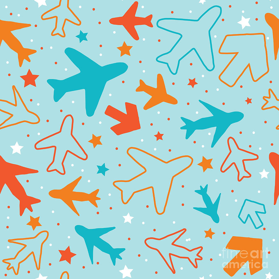 Plane Digital Art - Kids Pattern Background With Color by Barkarola