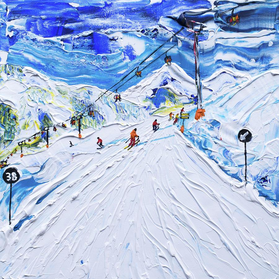 Kitzbuhel Piste 38 Skiing Print by Pete Caswell