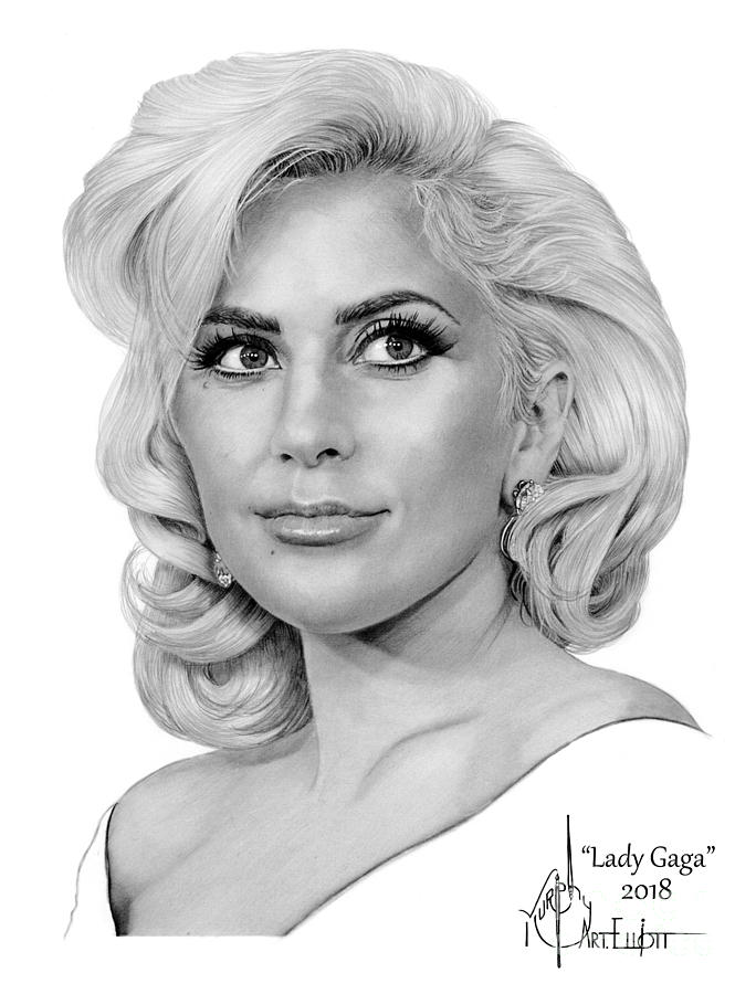 Lady Gaga Drawing By Murphy Elliott
