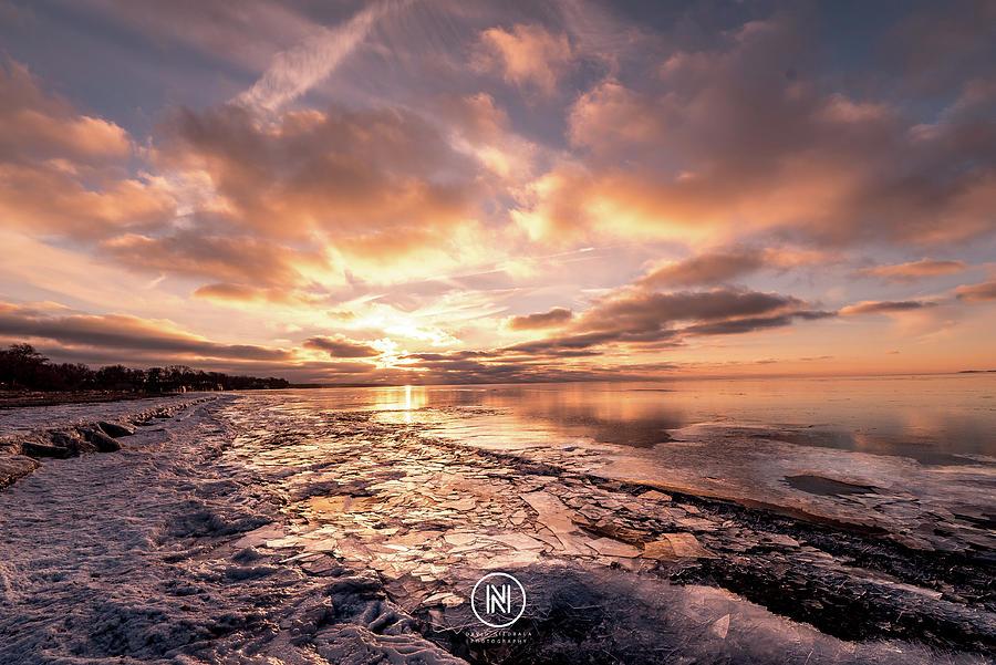 Ice Photograph - Lake Erie Sunset by Dave Niedbala