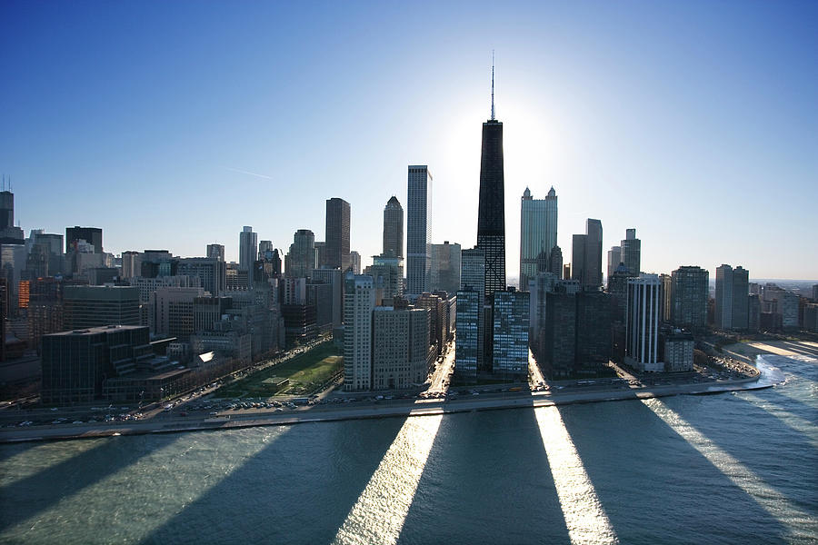 Lake Michigan By Chicago Skyline 1 Photograph by Jupiterimages