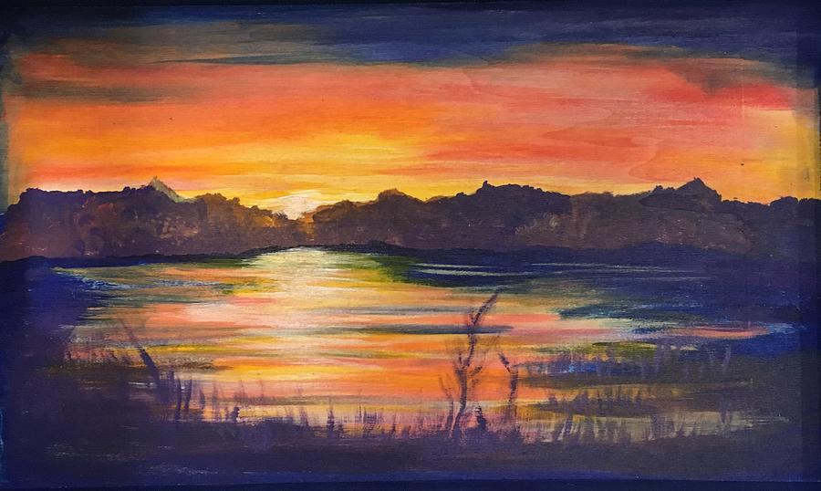 Lake Painting - Lake Sunset  by Marcia Hero