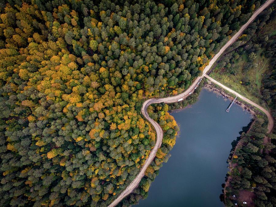 Nature Photograph - Lakeside Road by Okan YILMAZ