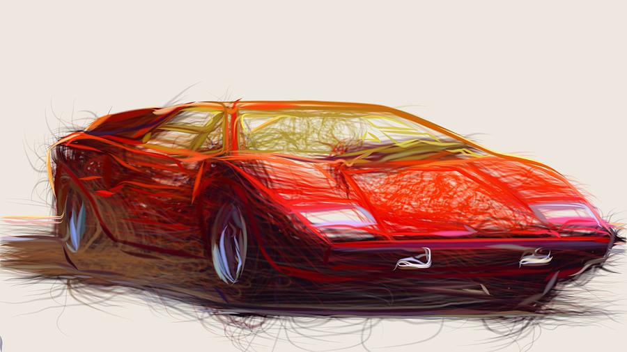 Lamborghini Countach Draw Digital Art By Carstoon Concept
