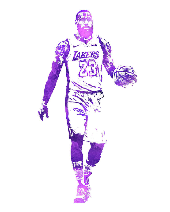 Lebron James Los Angeles Lakers Water Color Pixel Art 1 Mixed Media By Joe Hamilton