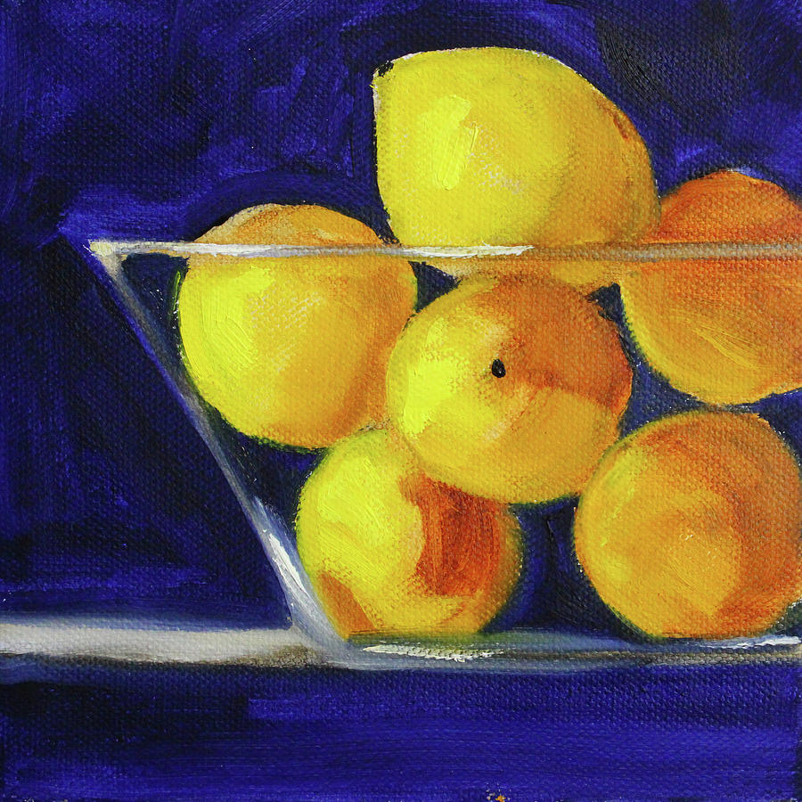 Lemons on Blue by Nancy Merkle