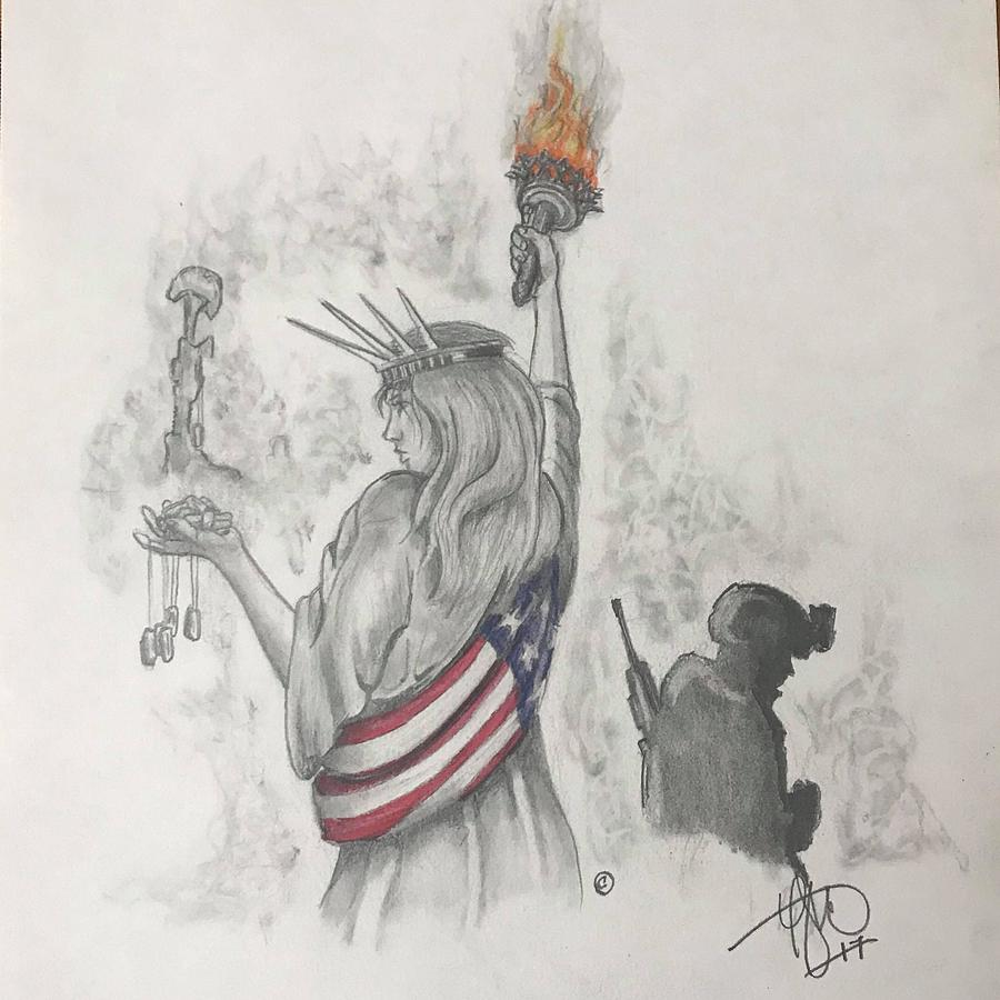 Soldier Drawing - Liberty and Justice for All by Howard King
