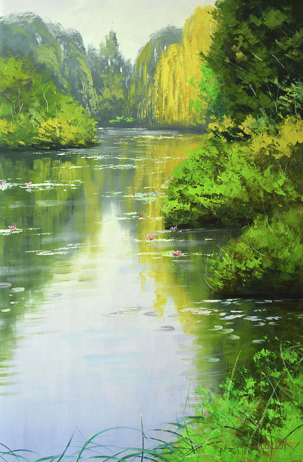 Rivers Painting - lily Pond reflections by Graham Gercken