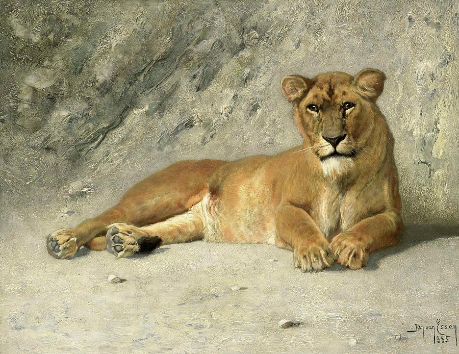 Jan Painting - Lioness Resting, 1885 by Jan van Essen