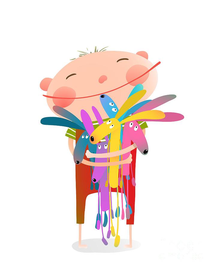 Play Digital Art - Little Boy Holding Rabbits Fun Toys by Popmarleo