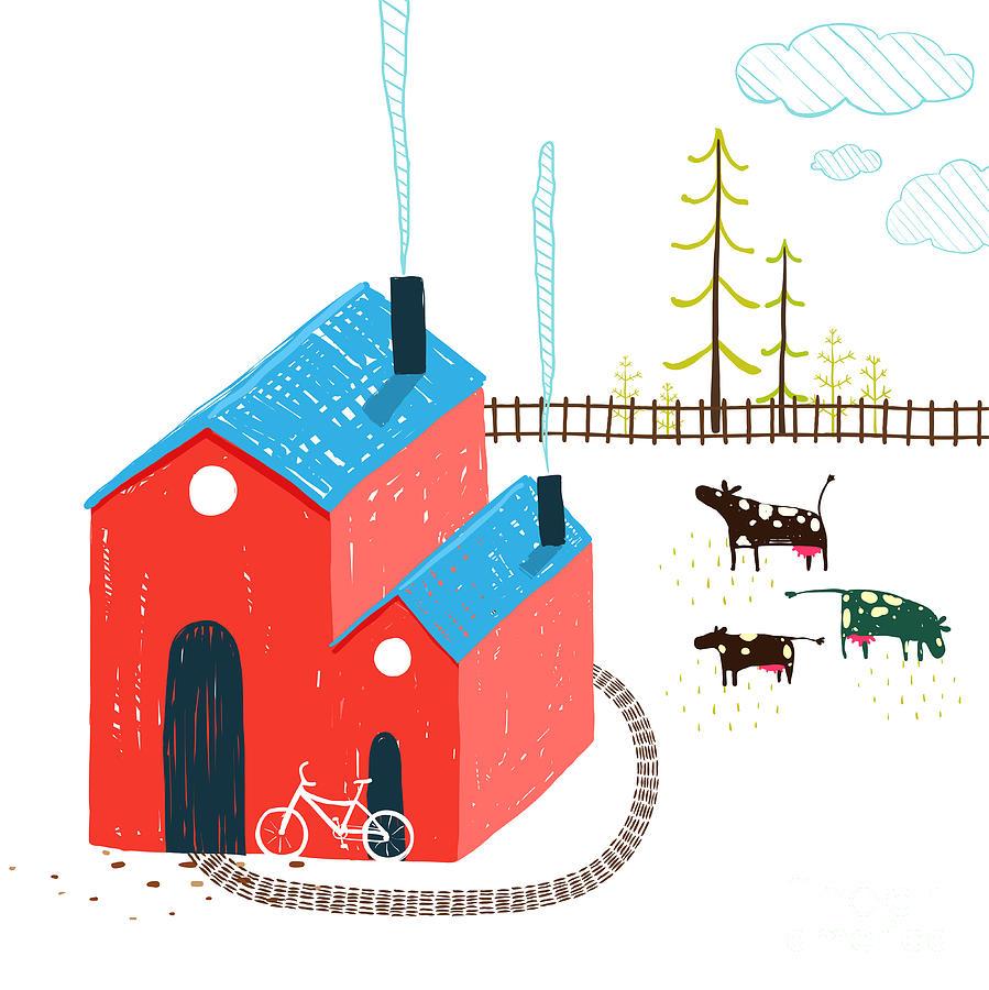 Small Digital Art - Little Village House Rural Landscape by Popmarleo