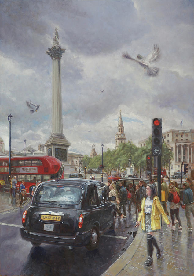 London taxi near Nelsons Column in the rain by Martin Davey