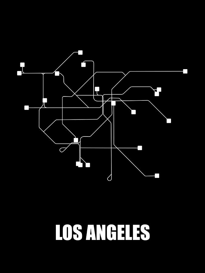 Black And White Subway Map.Los Angeles Black Subway Map By Naxart Studio