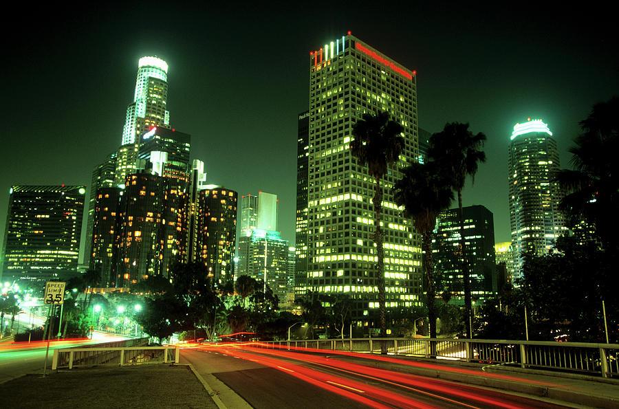 Los Angeles Skyline At Night Photograph by Hisham Ibrahim