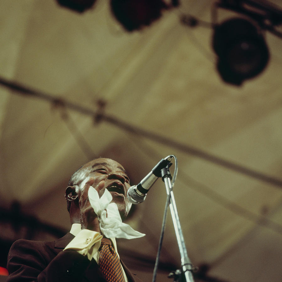 Louis Armstrong On Stage At Newport Photograph by David Redfern
