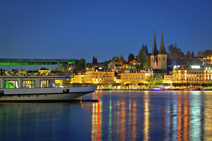 Lucerne Lake Waterfront And Historic Architecture Evening View Photograph