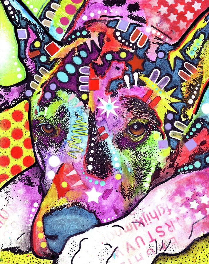 Domestic Dogs Mixed Media - Lying Dane by Dean Russo