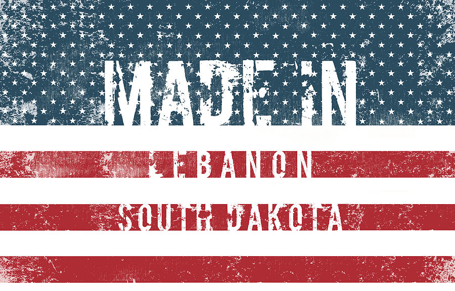 Lebanon Digital Art - Made In Lebanon, South Dakota by Tinto Designs