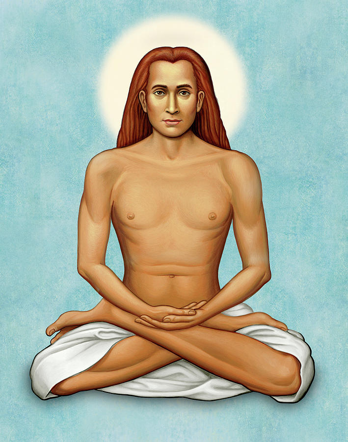 Guru Painting - Mahavatar Babaji On Blue by Sacred Visions